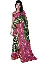 Star Saree Mall Georgette Saree (Saree-Green-Pink(Bandhani)_Pink)