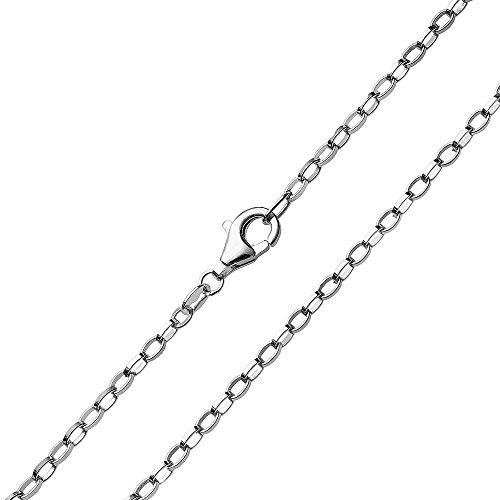 MATERIA 2mm Erbskette Silber 925 oval geschlagen Damen Herren Halskette rhodiniert + Box #K68