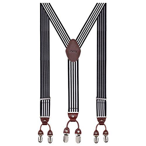 Herren Hosenträger Breit 6 Clips mit Leder in Y-Form / Extra Starken 35mm Elastisch und Längenverstellbar in Verschiedenen Farben Designs für Männer und Damen Hose, Weiß Streifen, Gr. one size