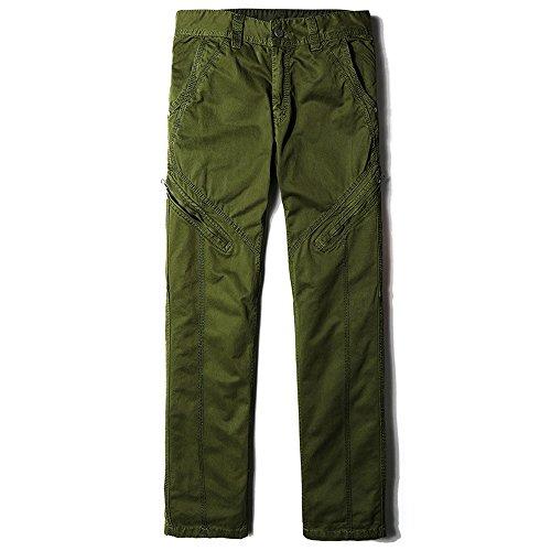 BicRad Herren Cargo Hosen Lang Freizeithose Chino Slim Stoffhose Arbeit Baumwolle Armee-Grün