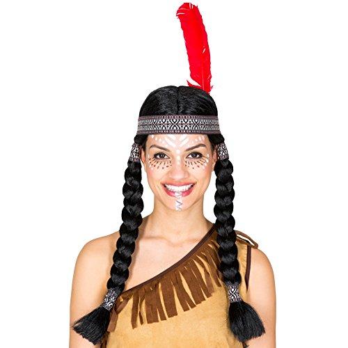 Perücke mit zwei geflochtenen Zöpfen | schwarz + Haarband mit Federn | Indianerin Squaw Fasching