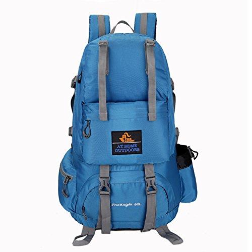Huntvp Wandern Rucksack Gepäck Reisentasche Wasserdichte Tasche Groß Bequem Perfekt für Outdoor Sport Camping Trekking Klettern Reisen Radfahren Bergsteigen - 50L Blau