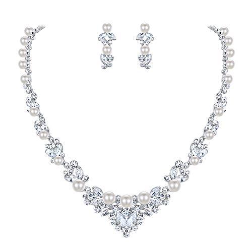 EVER FAITH® österreichische Kristall elegant Halskette Ohrring Schmuck Set Silber-Ton N00476-1