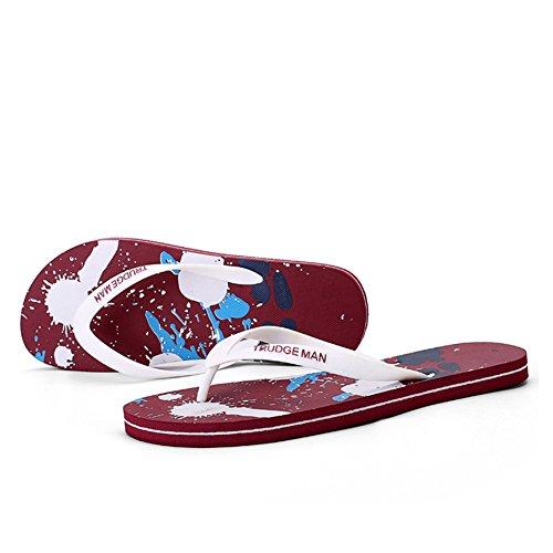 ailishabroy Rutschfeste und Verschleißfeste Sommer Zehentrenner für Männer Leichte Sandalen Strand Schuh Große Größe rot