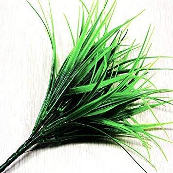 Tianu 7Gabel Kunstrasen Kunststoff grün lebensechte Grass Blumen Pflanzen Fake Blätter Haushalt Dekoration Billig