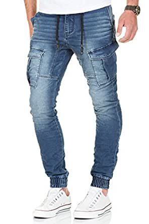 Urban Surface by Authentic Style Jogg Jeans Destroyed Look Drop Crotch Sweathose W29-W38 L32-L34 (Blau-m162, W32/L32)