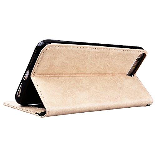 GrandEver iPhone 6/iPhone 6S Hülle Lederhülle Schutzhülle Retro Handytasche Scratch Ledercase Ledertasche Umschlag Stil Flip Cover Wallet Case mit Weiche Silikon Schale Innere Tasche für iPhone 6/iPho Gold