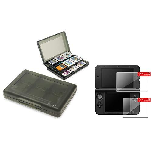 Insten Kompatibel mit Nintendo 3DS XL Smoke 28-in-1 Card Case + Top + Bottom LCD Screen Protector Film