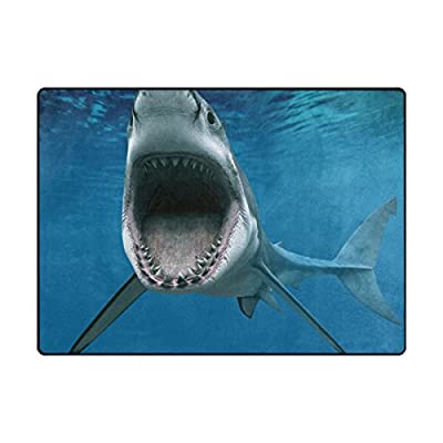 """My Daily Ocean Shark Area Rug 4'10"""" x 6'8"""" - Living Room Bedroom Kitchen Decorative Unique Shaggy Rugs"""