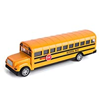 Think Wing School Bus Toy for Toddlers, 8.5 inch Die Cast Pull Back Cars Yellow Bus Play Vehicles with Pull Back Mechanism and Open Doors