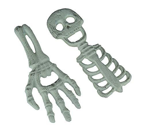 Flaschenöffner aus Gusseisen, Halloween-Flaschenöffner, Skelett und Hand, 17,8 x 0,9 x 7,6 cm, Weiß, 2 Stück