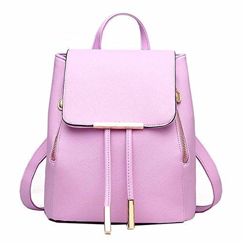 MSZYZ Weihnachtsgeschenke Fashion Umhängetasche Rucksack Pu Leder Frauen Mädchen Damen Rucksack Reisetasche Lavendel