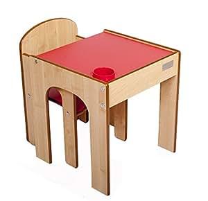 Little Helper en semble Table, Bureau et Chaise en Bois pour Enfants avec Pot à Crayons/Pinceaux Funstation Solo Toddler de Little Helper Rouge