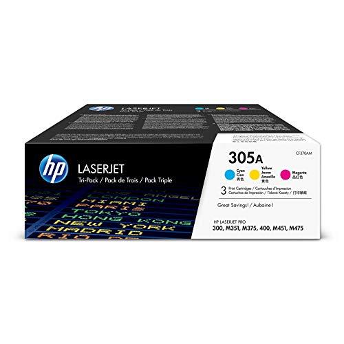 HP 305 - Pack de ahorro de 3 cartuchos de tóner Original HP 305 Cian, Magenta, Amarillo para HP Lasert PRO 300, M351, M375, 400, M451, M475