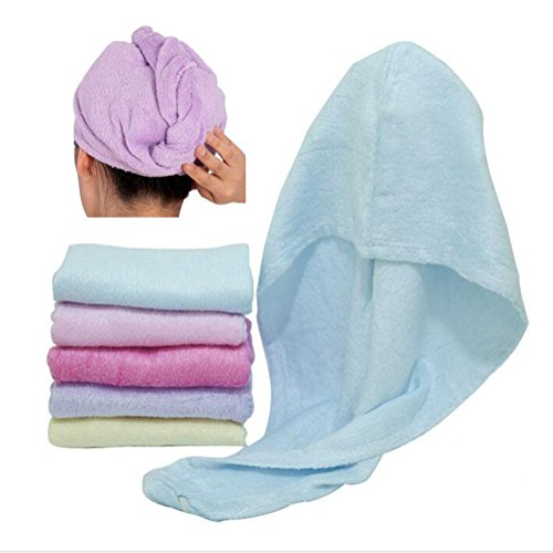 Happyit 1 PCS Hohe Qualität 100% Bambusfaser Weiche Kopf Handtuch Super Magie Absorbierende Haar Trocknen Hut für frauen Mädchen dame Bad Dusche (Blau)