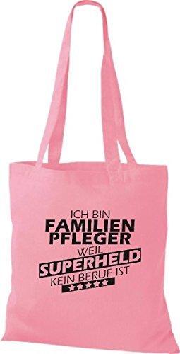 Shirtstown Stoffbeutel Ich bin Familien Pfleger, weil Superheld kein Beruf ist rosa
