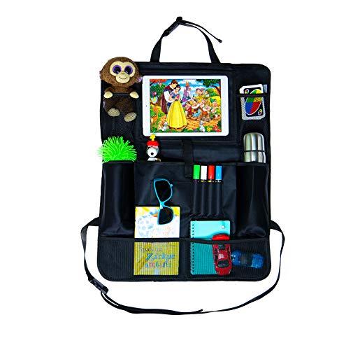 carpack Premium Rücksitz-Organizer – optimaler Reisebegleiter für Familien – Rückenlehnentasche als Tritt-Schutz – Tablet-Halter mit Touchfunktion – hochwertiges Autositz Zubehör mit Getränkehalter