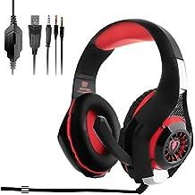 [auriculares para juegos] OBEST Auriculares para juegos profesionales, con el micrófono para PC /PS4 / Mac / móvil (Negro + Rojo)