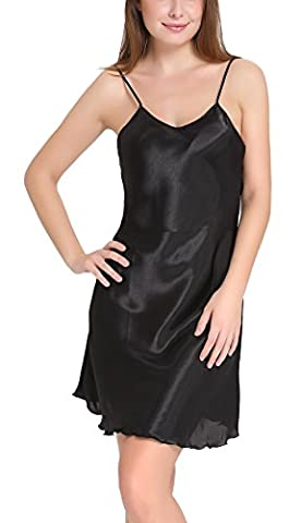 Aibrou femme Déshabillés chemise de nuit sexy en satin petite tenue nuisette Bretelles reglables Pure Douceur Robes Peignoir ( Noir, XL