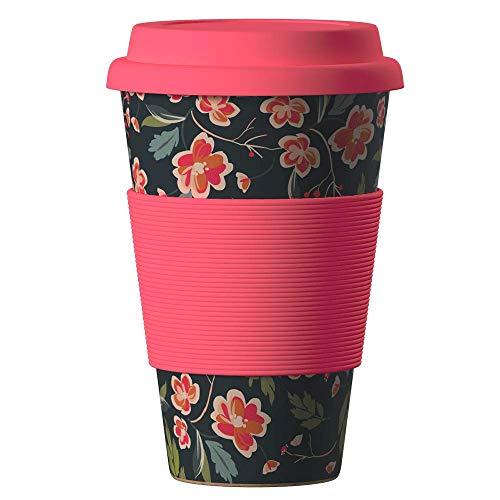 Bambus Becher wiederverwendbare Kaffeetasse mit dichtem Deckel, Trinkloch und Silikonhülle - Bamboo Eco ECoffee Cup - lebensmittelecht und spülmaschinenfest 400 ml Japanische Sauerkirsche