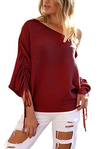 PassMe Donne Maglione Maglia Manica Lunga con Coulisse Felpa Senza Spalline Maglietta Pullover Sweatshirt Tops Allentato Casual Elegante vino rosso