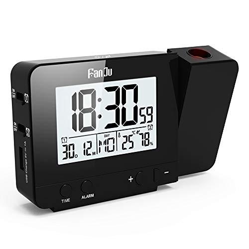 FanJu FJ3531B Digital Projektionswecker mit Temperatur und Zeit-Projektion/USB-Anschluss/Innentemperatur und Luftfeuchtigkeit/DCF automatische Zeitanpassung/Kalender