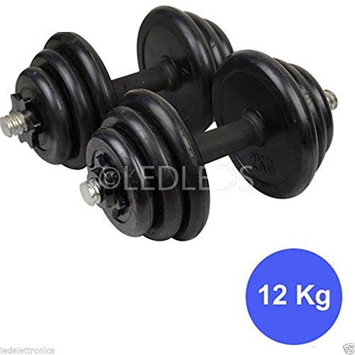 Set 2 manubri e dischi kit palestra 12kg pesi bilanciere fitness 6 kg a manubrio