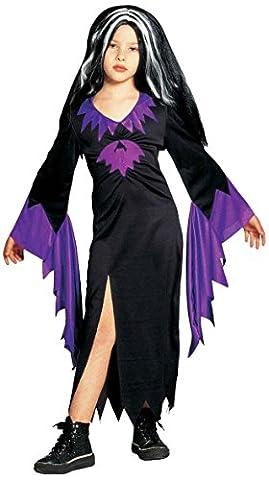 Kinder-Kostüm-Set Mortisa mit Fledermaus, Größe 140 (Morticia Kostüm Zubehör)
