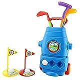 RANRANJJ Ensemble de golf pour enfants - chariot de golf avec roues, 3 bâtons de golf colorés, 3 balles et 2 trous d'entraînement - Ensemble de jouets de sport pour jeunes golfeurs amusant pour garçon