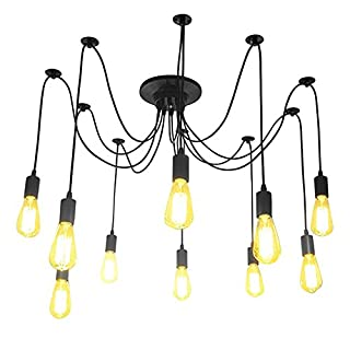 akldigital Modern Vintage Industrial Edison Eletrical Wire Hanging Pendant Lights Lampshade With 6/8/10 heads,E27 Pendant Lamps For Home/Room/Coffee Bar/Kitchen (10 heads)