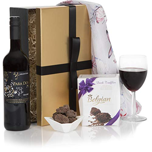 Ladies Indulgence Hamper Gift Set - Red Wine & Chocolate Truffles Hampers - The Perfect Hamper For Her