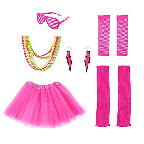 Toyvian 6 Stück 80er Jahre Kostüm Neon Armband und Neon Perlen Ohrringe Beinwärmer Netzhandschuhe für Frauen der 80er Jahre Party Kostüm (Rosa - Mädchen Perlenohrring Kostüm