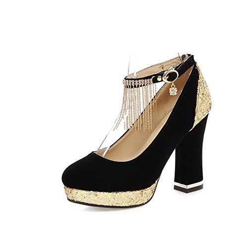 Haut Noir Femme VogueZone009 Boucle Rond Couleur à Dépolissement Chaussures Unie Talon Légeres qxtRZP