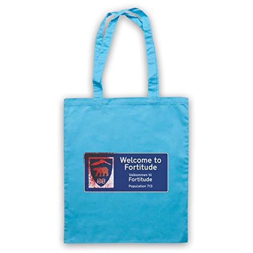 Inspiriert durch Fortitude Welcome Sign Inoffiziell Umhangetaschen Hellblau