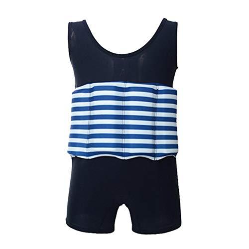 IWEMEK Kinder Junge Mädchen Badeanzug mit Schwimmhilfe Bademode mit Regulierbarem Auftrieb Rashguard One Piece Schwimmanzug Float Suit Schwimmweste für Schwimmen Anfänger Marineblau 5-6Jahre