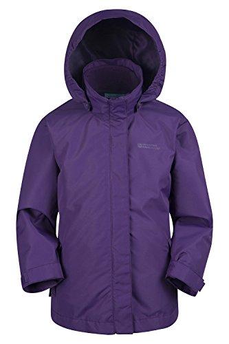 Mountain Warehouse Fell Wasserdichte 3-in-1-Kinderjacke mantel + Fleece - Funktionsjacke Doppeljacke Winterjacke Violett 164 (13 Jahre)