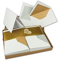 Faltkartenset Mit Gold Und Silber Gefütterten Umschlägen | Matt | 30er Set  | DIN 6 | Blanko Einladungskarten In Hochweiß | Umschläge Mit Seidenpapier  ...