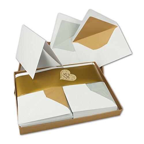 Faltkartenset mit Gold und Silber gefütterten Umschlägen | Matt | 30er-Set | DIN 6 | Blanko Einladungskarten in Hochweiß | Umschläge mit Seidenpapier | bedruckbare Post-Karten | in hochwertiger Geschenkbox | ideal für Hochzeiten, Einladungen, Feste und Feiern