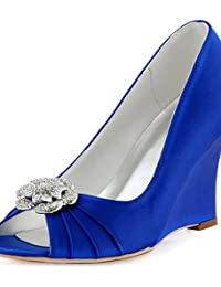 45a6ee8379ee Ggx femme Chaussures en satin stretch Printemps automne cales talons  Mariage robe Talon