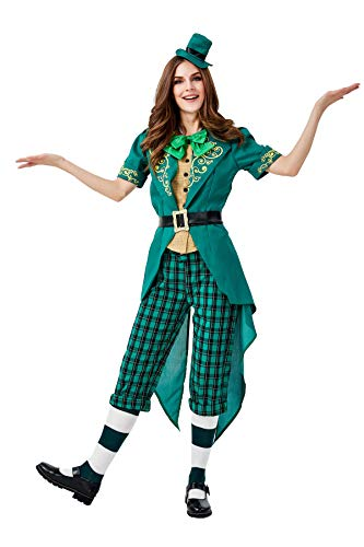 YuStar Cosplay Halloween Karneval Irish Leprechaun Family Dress Up St Ostern Karneval Kostüme Bühne Performance Kostüme Damen Gr. L, B (Irish Dress Up Kostüm)