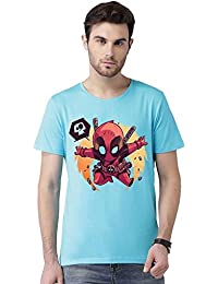 Deadpool Dc Comic Superhero Graphic Printed Round Neck Bio Washed Half Sleeve T Shirt For Men