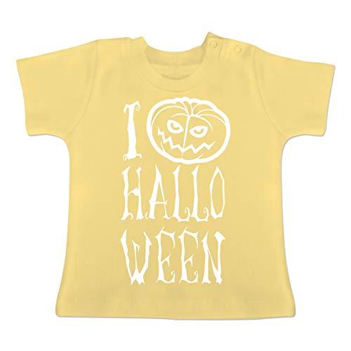 Anlässe Baby - I Love Halloween - 1-3 Monate - Hellgelb - BZ02 - Baby T-Shirt Kurzarm (Kürbis Kostüm Pi)