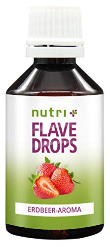 Flavor Drops Erdbeere 50ml - Aromatropfen ohne Kalorien - Geschmacks Tropfen zum Süßen und als Backaroma - Erdbeeraroma Vegan - Strawberry Flavour - Hergestellt in Deutschland