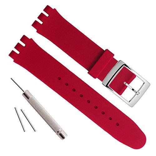 Versilberte Edelstahlschnalle mit wasserdichtem Uhrenarmband aus Silikonkautschuk (17mm, Dark Red)