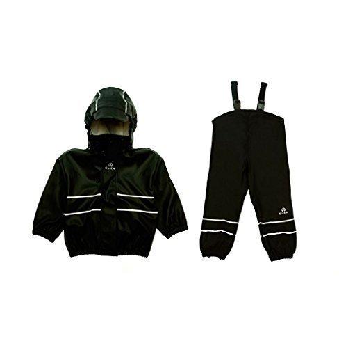 Elka Regenanzug Regenhose + Regenjacke für Kinder, gestreift und einfärbig Farben viele Größen 220g/Polyester (98, Schwarz)