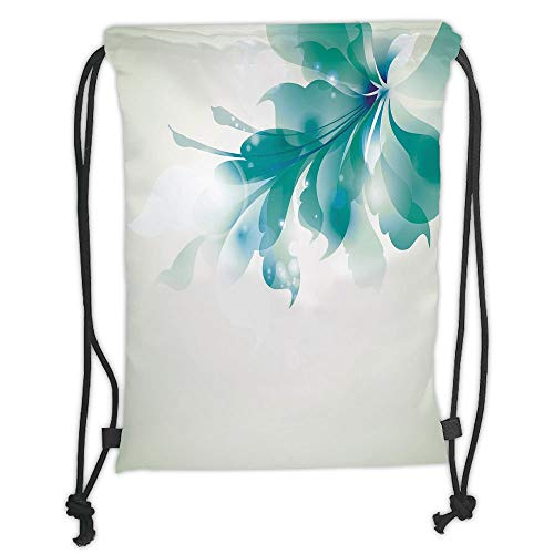 GONIESA Drawstring Sack Backpacks Bags,Abstract Decor,Big Single Beautiful Abstract Blue Ombre Flowers Artwork,White Light Blue and Blue Soft Satin,5 Liter Capacity,Adjustable String Closure,Th -