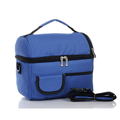 ZOORON Multifunctional Durable Double Thick Ice Pack 600D Oxford Waterproof Insulated 8L Large Reusable Cooler Fresh Lunch Bags Frozen or Warm Keeping Handbag Tote for Outdoor Work,Travel,Picnic ,Camping,Hiking (Blue)