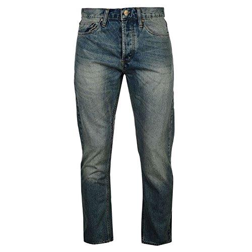 Soviet Herren Heller Wash Jeans Straight Denim Hose Freizeit Jeanshose Baumwolle Lght Wsh Strght