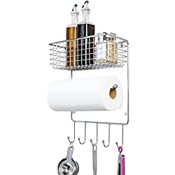 mDesign porte essuie tout – étagère murale polyvalente en métal pour cuisine et débarras – avec panier rangement profond et cinq crochets – couleur argenté