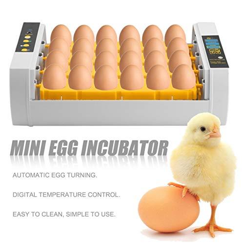 Pratica 24 uova di alta capacità Mini incubatrice per la tornitura di pollo Pollame Quaglia Turchia Uova di uso della casa Uovo automatico (giallo)